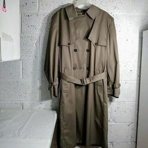 Towne by London Fog 48 Long Trench Coat Beige/Grey